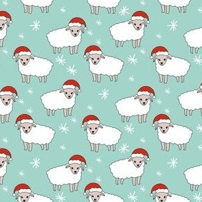christmas sheep fabric - christmas sheep, baa humbug, - mint