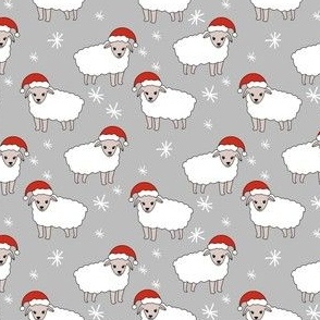 christmas sheep fabric - christmas sheep, baa humbug, - grey