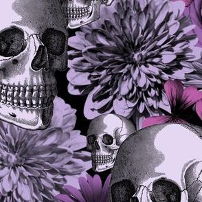 floral and skull - black