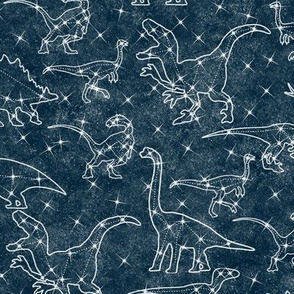 Constellation dinosaurs on midnight blue
