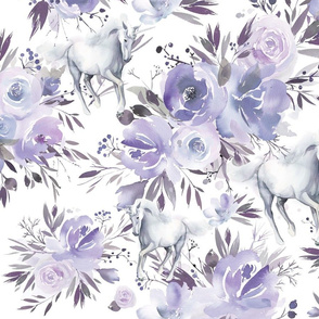 Floral Unicorn - purple