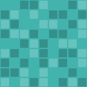 Jumbo Mosaic Squares in Shades of Verdigris