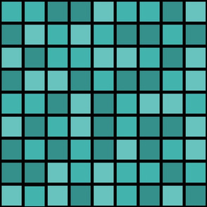 Jumbo Mosaic Squares in Shades of Verdigris on Black