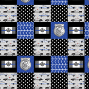 "(1.5"" scale) Police (Canadian Flag) Patchwork  - thin blue line flag -  wholecloth  C19BS"