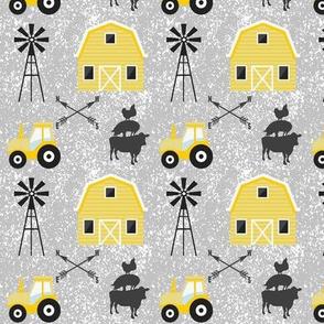 on a farm yellow