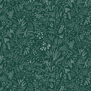 Botanical Doodles--white on dark green