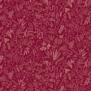 Botanical Doodles--orange on dark red