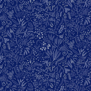 Botanical Doodles--white on dark blue