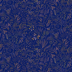 Botanical Doodles--multicolor on dark blue