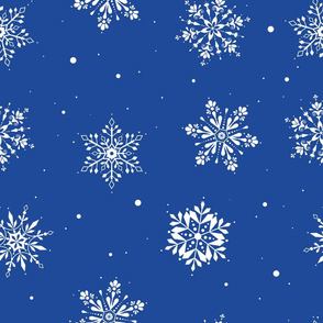 Christmas Folk Snowflakes- Blue