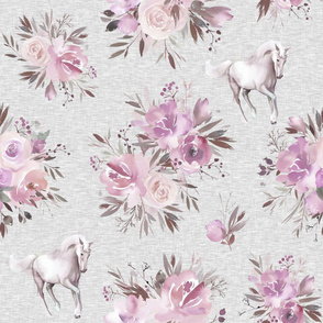 Floral Unicorn - pink on grey linen