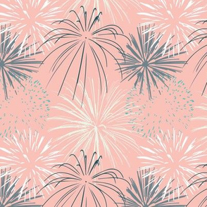 All over fireworks on pink with grey