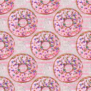 Donuts sprinkles glitter pink stripes
