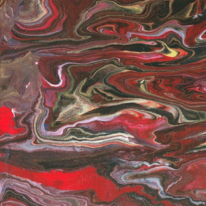 Gold Red Black and White Freestyle Pour
