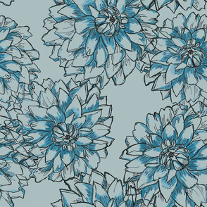 Peony  blue oversize linedrawing