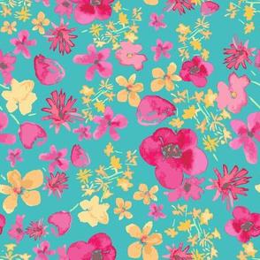 Bouquet Repeat Pattern Spoonflower blue raster