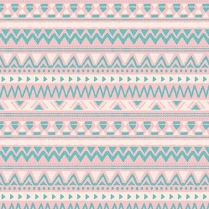 Aztec folklore indian pattern in winter pink blue