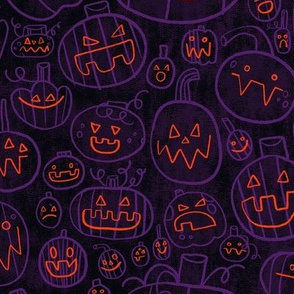 Spooky Scary Jack-O-Lanterns in Purple