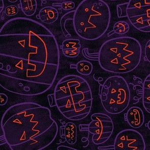 Spooky Scary Jack-O-Lanterns in Purple ROTATED