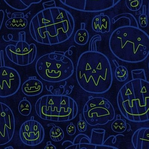Spooky Scary Jack-O-Lanterns in Blue