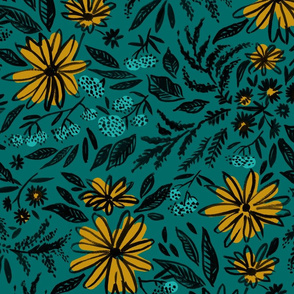 fall_floral_tile_teal_yellow