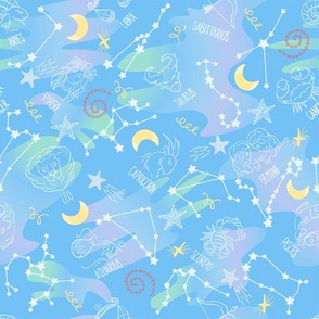 Astrology Zodiac Signs Night Sky Seamless Pattern light blue