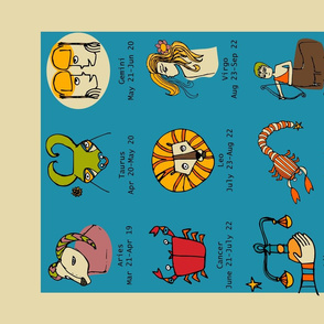 Retro Zodiac Tea Towel