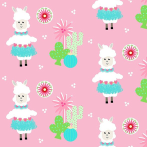 LLAMA Ballerina mint tutu and cactus on pink -  LG105