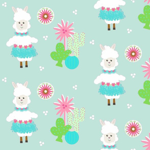 LLAMA Ballerina mint tutu and cactus on mint greeen -  LG105