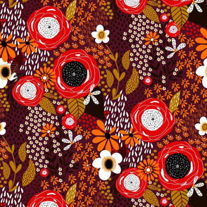 Whimsy Floral|  Autumn Orange on Bordeaux|Renee Davis