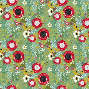 Whimsy Floral | Green and Red on Malachite| Renee Davis