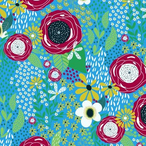 Whimsy Floral | Bright Blue |Renee Davis