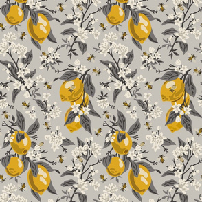 Bees & Lemons - Medium - Grey