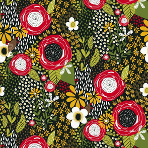 Whimsy Floral |Red and Green |Renee Davis