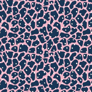 Trendy minimal animal print abstract giraffe spots and dots winter navy blue pink