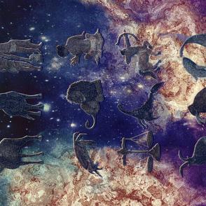 ASTROLOGY SIGNS TEA TOWEL PANEL GOLD INDIGO effect NIGHT HORIZONTAL PSMGE
