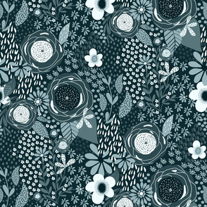 Whimsy Floral| Blue Dianne | Dark Teal Monochrome| Renee Davis