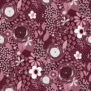 Whimsy Floral in Bordeaux |Monochrome| Burgandy | Renee Davis