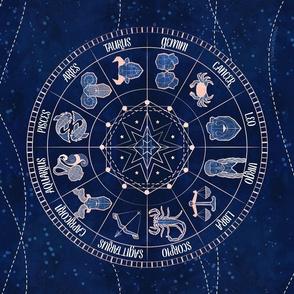 Geometric zodiac wheel tea towel // navy blue and coral