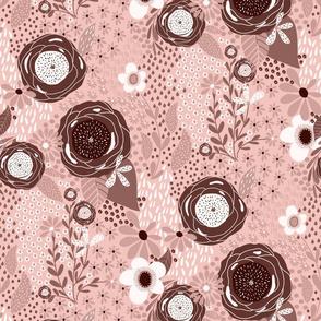 Whimsy Floral | Eraser Pink|Monochrome|Renee Davis