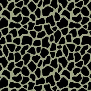 Trendy minimal safari animal print abstract giraffe wild life spots winter autumn sage green black