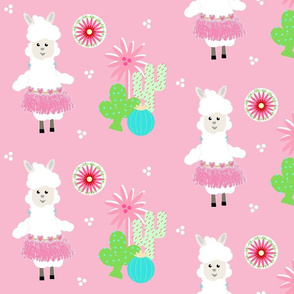 LLAMA Ballerina pink tutu and cactus on pink -  LG105