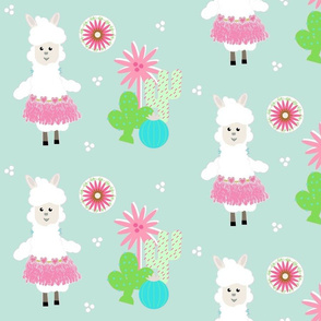 LLAMA Ballerina pink tutu and cactus on mint greeen -  LG105