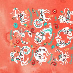 Boho Zodiac Signs Astrology Tea Towel
