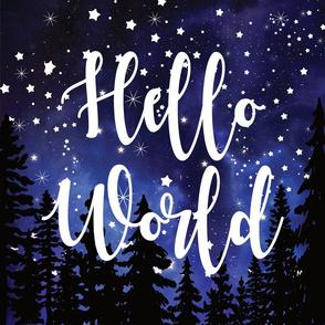 "midnight sky Hello World starry night lovey - 18x18"""