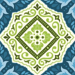 Blue and Green Folk Art