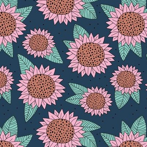 Boho sunflower lush garden autumn winter botanical lush flower blossom park pink cinnamon navy blue mint