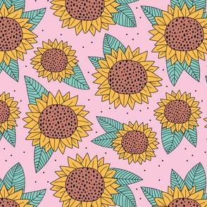 Boho sunflower lush garden autumn winter botanical lush flower blossom park yellow cinnamon pink mint