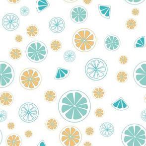 orange and blue lemon slice
