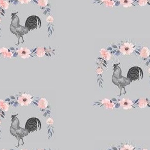 Countryside Rooster on Gray
